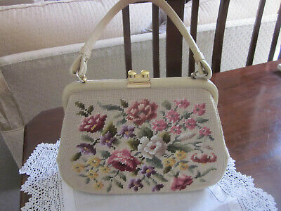 1950s Handbags, Purses, and Evening Bag Styles BEAUTIFUL VINTAGE NEEDLEPOINT TAPESTRY EMBROIDERED HANDBAG  $65.85 AT vintagedancer.com