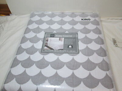 LH Lamont Home Finley Crowned head Coverlet 108x96 ~ Ashen/Spotless  ~ Scalloped Plan NEW