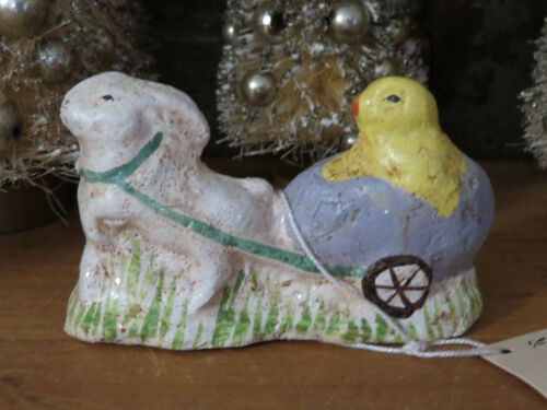 Paper Mache Bunny Rabbit Pulling Egg Cart w Easter Chick Midwest of Cannon Falls