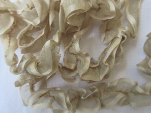 "Antique Ecru Silk RIbbon Satin Trim Gathered Ribbon..Antique Doll Clothing..85"""