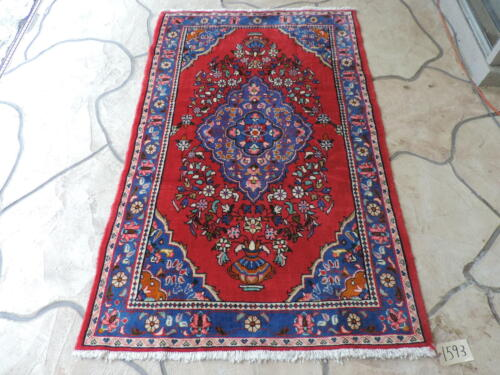 4x6ft. Handmade Hamadan Medallion Wool Rug