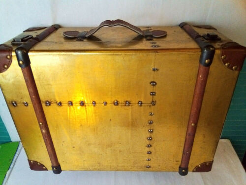 TRUNK SUITCASE METAL COVERED WITH WOOD METAL & LEATHER ACCENTS LOOK!