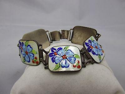 schönes emailliertes Armband aus Silber 835 punziert Blumen Dekor