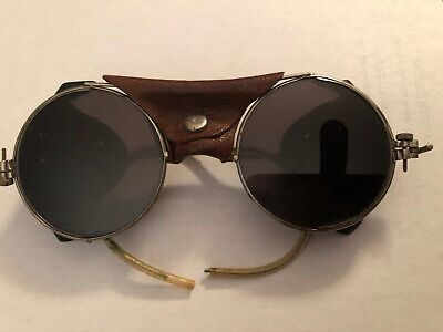 Vintage Round safety glasses steampunk Motorcycle sunglasses Leather Sides/Nose