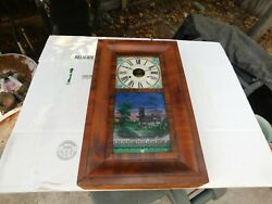 Big Antique New Heaven Mechanical Clock Wall Hanging Wood Box 26 X 15