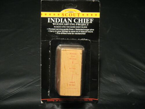Vintage BSA Boy Scouts INDIAN CHIEF Wood Carving Kit Neckerchief Slide NEW!