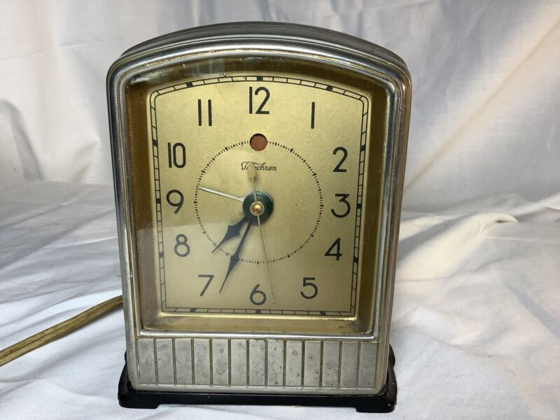 Vintage 1920's Art Deco GE Telechron Electric Alarm Clock Model 716 Running!