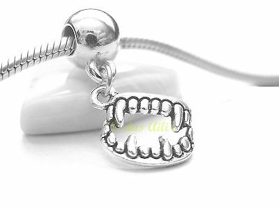 Dracula Vampire Fangs 'twilight' Slider Clip Dangle Charm fits European - Twilight Fangs