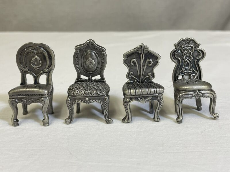 """Metal Pewter Chair Place Card Holders 2""""H"""