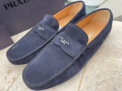Prada 2DD165 Men's Suede Driver Shoes, New in Box, Navy Blue, various sizes