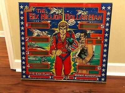 Beautiful Authentic Six Million Dollar Man Pinball Machine Back Glass