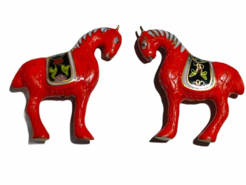 Vintage Chinese Cloisonne Horse Beads- Lot Of 2