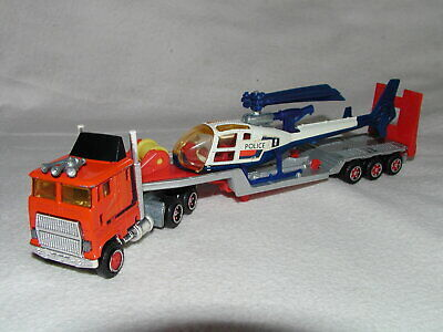 1980 Vintage Majorette Truck Ford CL-9000 low loader with Gazelle copter - Used