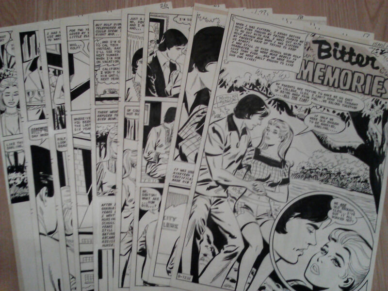 Nicholas Alascia JUST MARRIED #113 ORIGINAL COMIC ART Complete Story 9 Pgs 1976