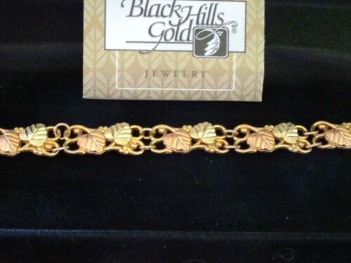"""vintage Black Hills Gold - 6 1/2"""" LEAF LINE BRACELET - 10K/12K - GOLD"""