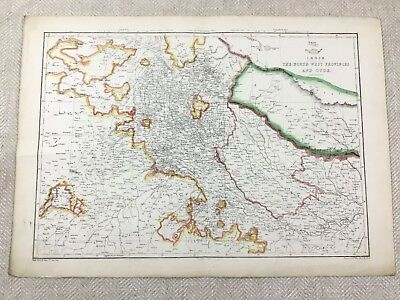 Antique Map of India Indian Provinces Oude Hand Coloured 19th Century Original