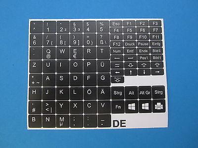 Tastaturaufkleber für Notebook Deutsch QWERTZ schwarz für 89 Tasten DE PÜÖÄ