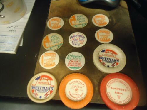 Antique lot of 12 Dairy Milk Carton Bottle Tops