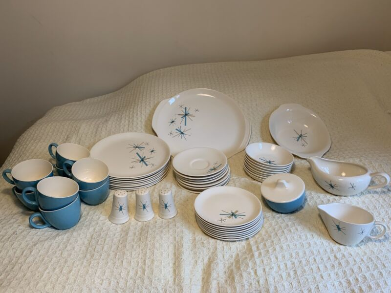 Vintage SALEM Dish Set ATOMIC STARBURST Mid Century 8 Settings 49 Pieces