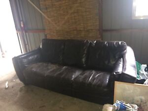Large comfy leather couch Reid North Canberra Preview