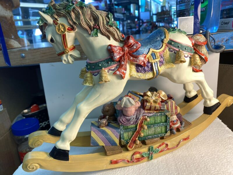 """Rocking Christmas Decorated 15"""" X 10 1/2"""" Horse Figurine Braring Gifts Bells"""