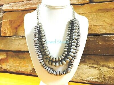 NEW Beach Style Multi-Strand Beaded Strand Necklace Collar Silver Tone Chain for sale  Raleigh