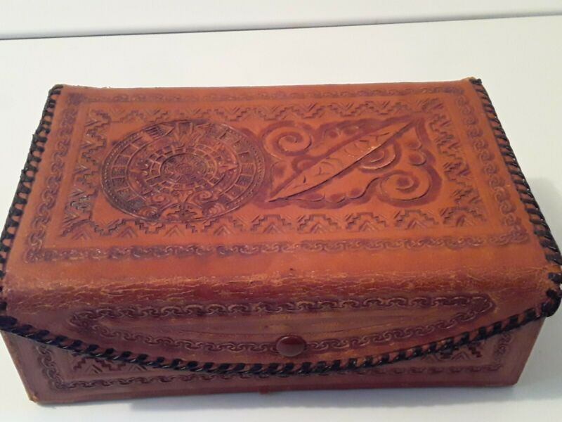 Vintage House Of Oppenheim Mayan Calendar Handcrafted Tooled Genuine Leather Box
