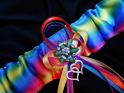 Colorful RAINBOW Satin Ribbon GARTER Wedding Bridal Lingerie Gay Lesbian PRIDE Ribbon Wedding Garter