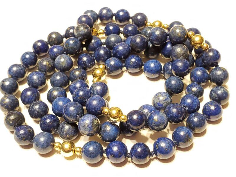 Vtg long Fine 14k gold & Carved Blue Round Lapis beaded Necklace Bin-3