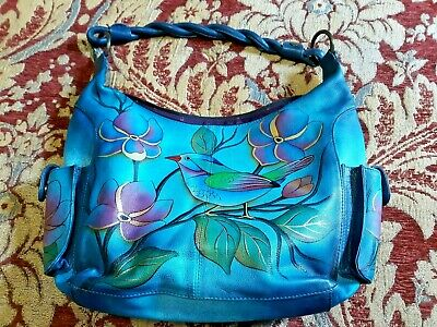 Anuschka Travel Genuine leather Purse Bright bird shoulder hobo handbag colorful