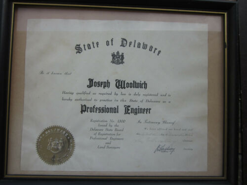 DELAWARE  PROFESSIONAL  ENGINEER  DIPLOMA  65  YEARS  OLD