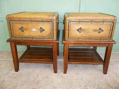 Pr. Old In seventh heaven Map Leather Trunk Wood Side/End Tables Storage Drawer Living Room