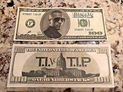 (2) TI vs TIP rare promo only $100 BILLS 100 STACKS FOR ALBUM GRAND HUSTLE B-2