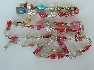 """Antique Old Christmas Shell Tube Indented Mercury Glass Garland String3 66"""""""