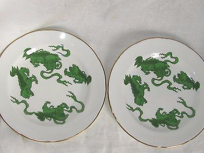 2 WEDGWOOD CHINESE GREEN TIGER CHINA SALAD PLATES 2