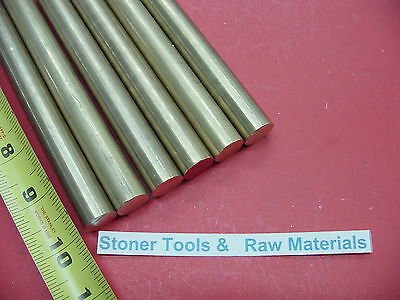 6 Pieces 12 C360 Brass Solid Round Rod 10 Long New Lathe Bar Stock 12 Hard