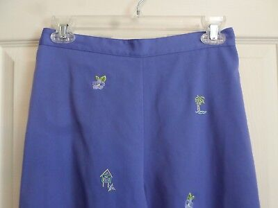 Alfred Dunner Stretch Capris Cropped Pants~Lilac~Embroidery Palm Trees~Size 8P Alfred Dunner Capris