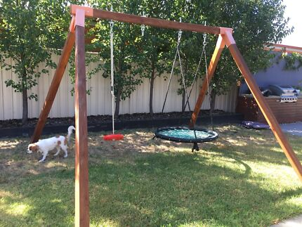 Wooden double free standing swing frame and swings