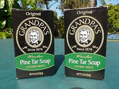 Grandpas Pine Tar Soap 4 25 Oz  Bar   2  Bars   Original