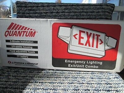 Lithonia Quantum Emergency Exit Sign Greenred Light New Old Stock Batteryac