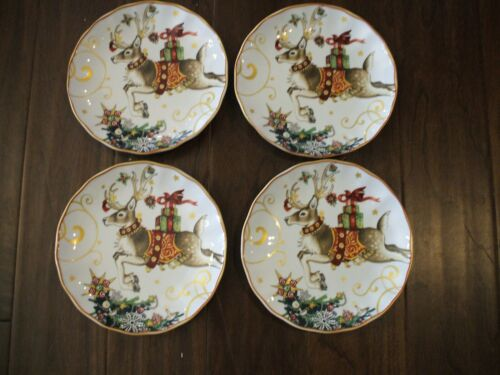 Williams Sonoma Twas The Night Before Christmas Salad Plates S f /4 New Reindeer