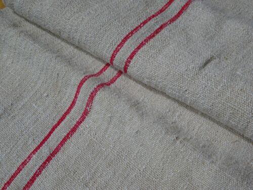 Antique European Feed Sack GRAIN SACK Red Stripes # 10394
