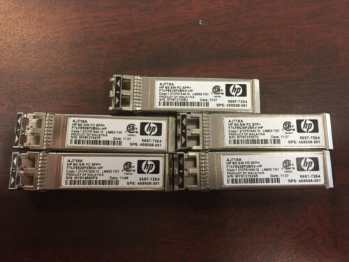 Lot Of 5 Hp Aj718a Storageworks 8gbps Short Wave 150m 850nm Lc Sfp+ 468508-001