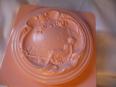 Vintage Pink  Plastic Vanity Powder Container Jar~Full~ Romantic Design