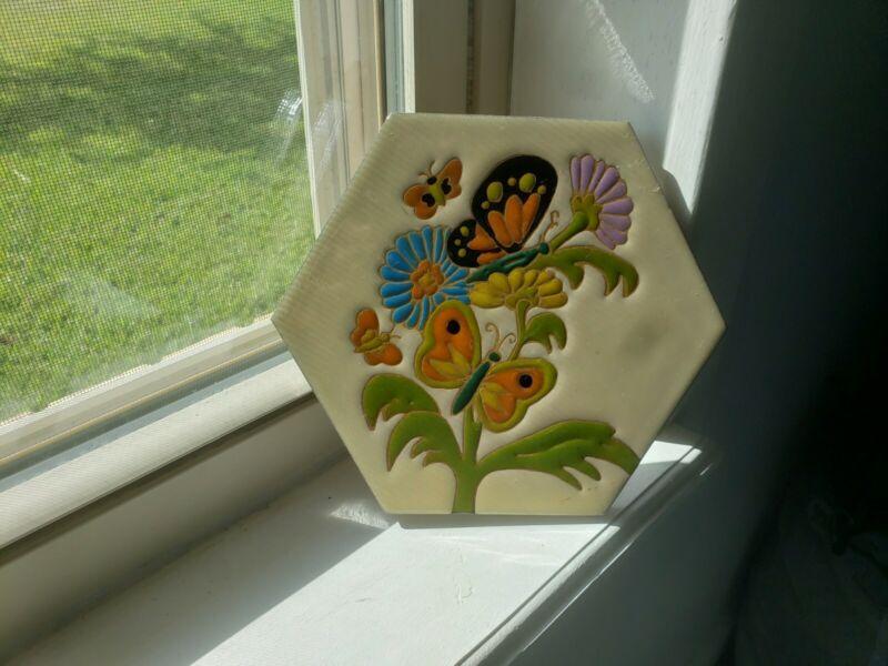 Vintage German Villeroy & Boch Tile Trivet Glazed Hexagon Flowers Butterflies