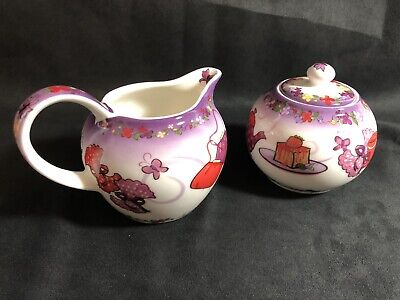 PAUL CARDEW DESIGN RED HAT SOCIETY TEA TIME PORCELAIN SUGAR BOWL AND CREAMER