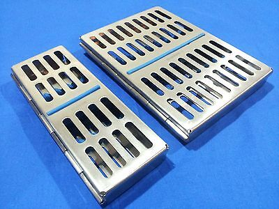 2 Stainless Steel Dental Sterilization Cassette Box Tray For 5 10 Instruments