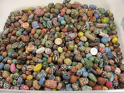 2 Pounds Assorted Sizes India Handmade Clay Beads Wholesale Bulk Lot Free Ship