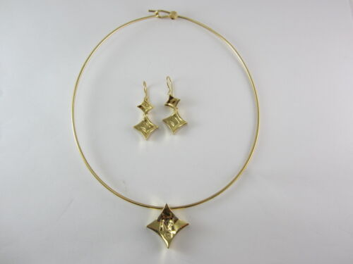 Stunning 18k Yellow Gold Movado Necklace Choker & Earrings Set 41.4g
