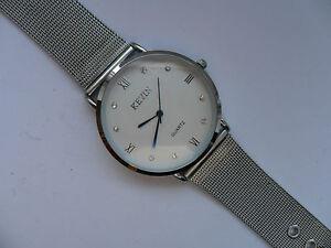 Smart KEVIN Roman Numeral Silver Faced Quartz Watch Metal Strap